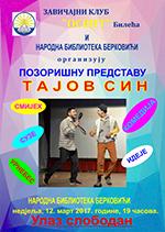 плакат за позоришну представу ТАЈОВ СИН у Берковићима