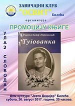 плакат за промоцију књиге ТУГОВАНКА у Билећи